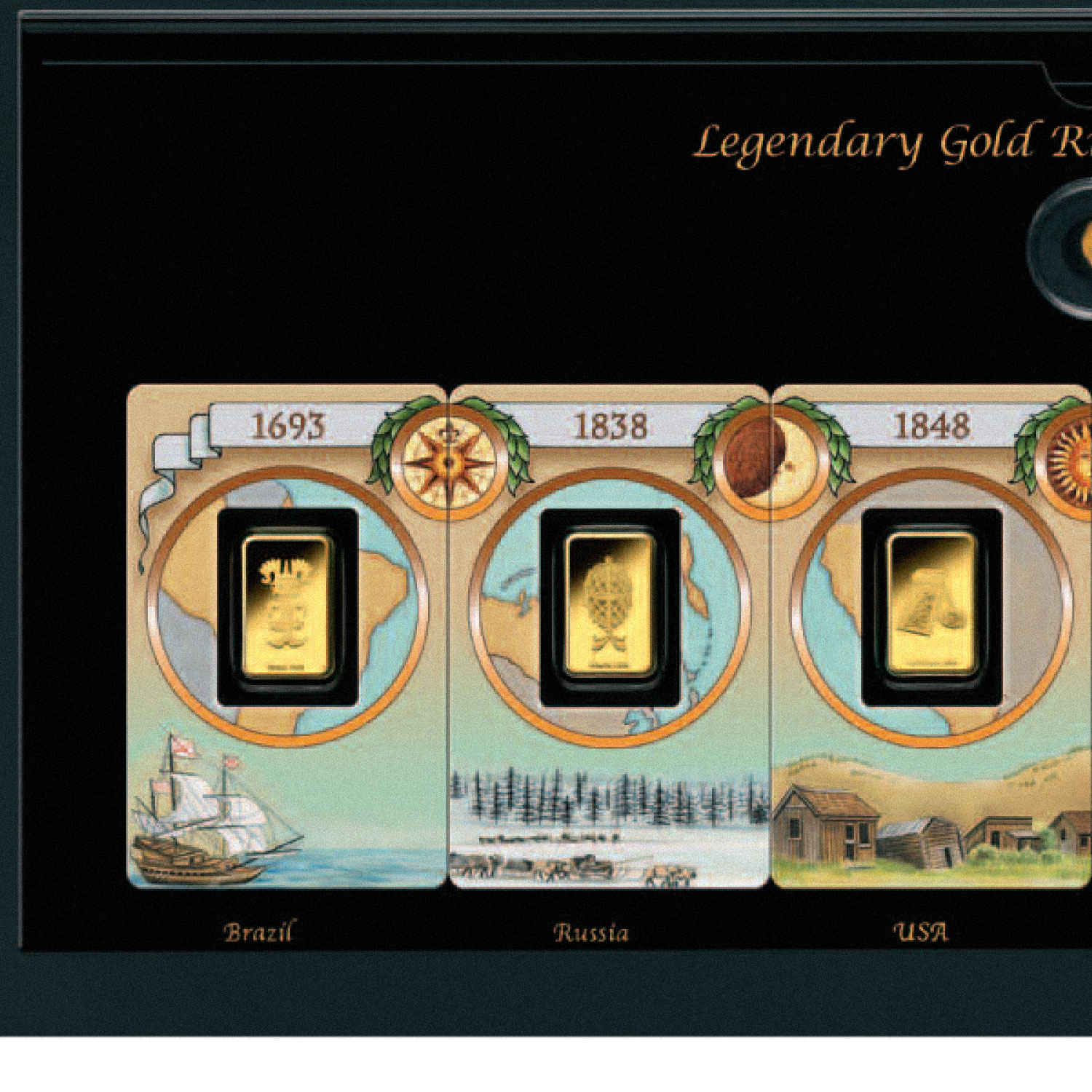 Legendary Gold Rushes of the World - Six .9999 Gold Bar Set